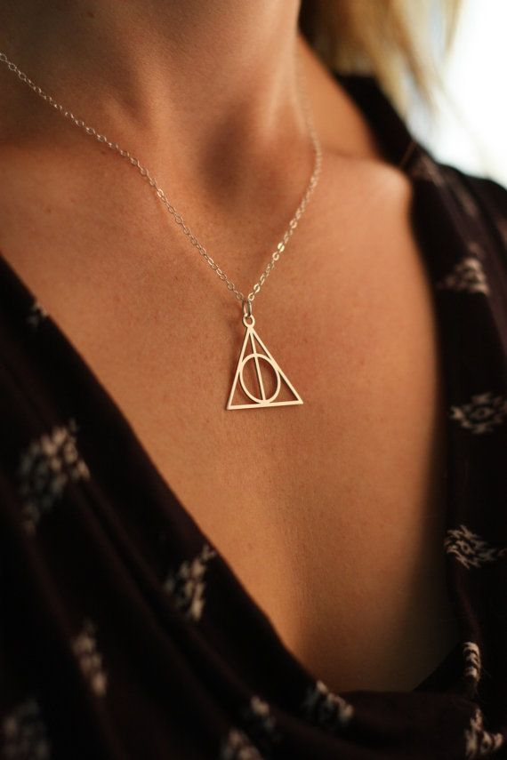 SALE - Deathly Hallows Necklace - Sterling Silver - Harry Potter Necklace - JK Rowling - Christmas Gifts - Horcrux - Halloween - Pendant