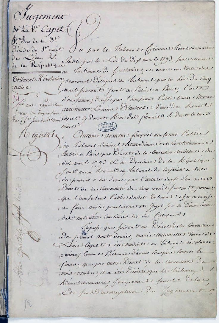 Acte de condamnation à mort de Marie-Antoinette par le Tribunal révolutionnaire, Archives nationales.