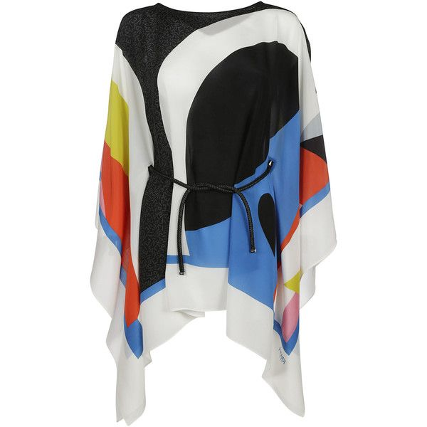 Fendi Tunics ($690) ❤ liked on Polyvore featuring tops, tunics, multicolor, kaftan tops, fendi, caftan top, boat neck tops and colorful tops