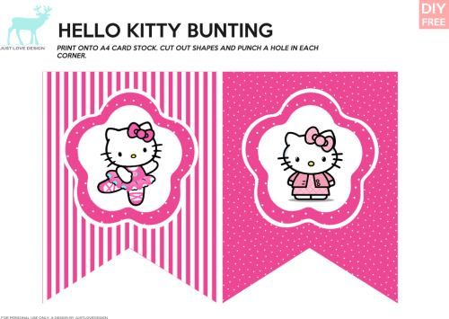 JUSTLOVEDESIGN - DIY FREE Hello Kitty Bunting and Gift Bag Tags -...