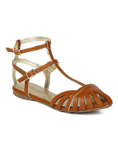Breckelle BA87 Women Leatherette Strappy Pointy Toe Caged ...