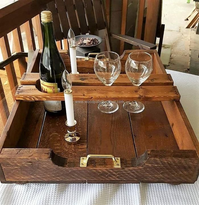 Here is another idea of creating a serving tray, but this time it is specifically for serving the drinks. There is a special place to fit the bottle and the glassesto keep themsafe.
