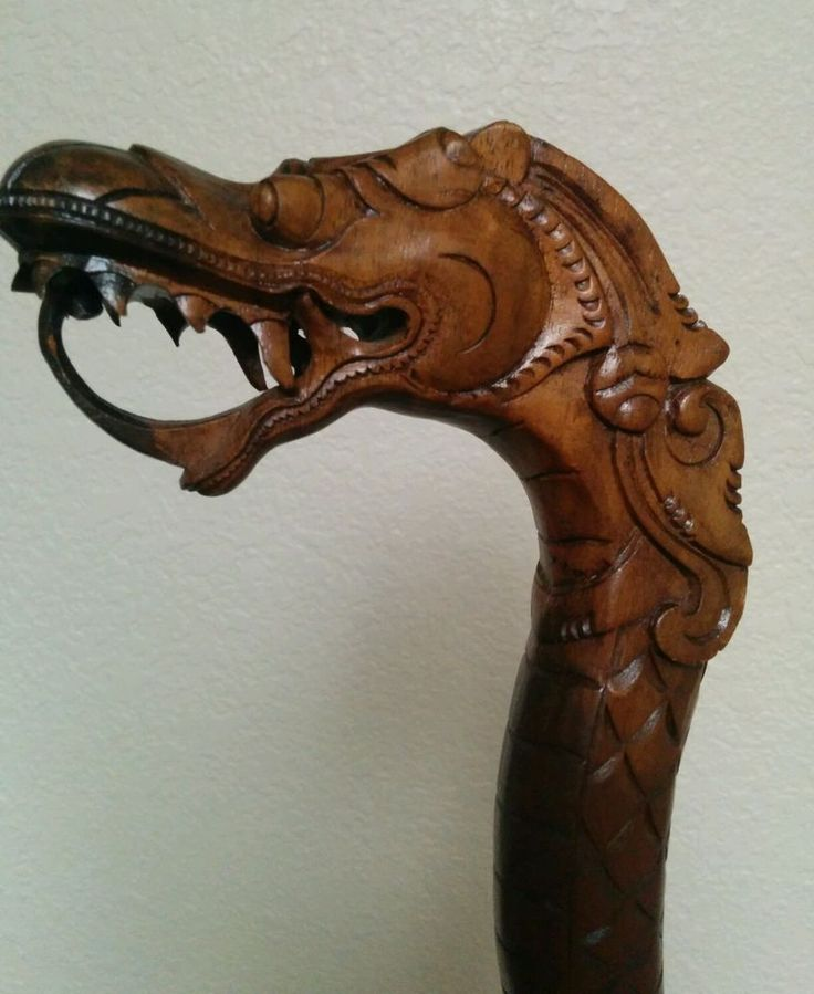 "Vintage Dragon Head Cane Indonesian Hand Carved Wood 37.5""- Walking Stick"