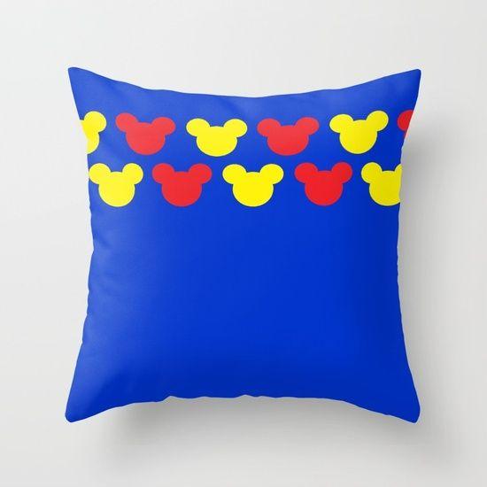 Retro Mickey Mouse Pattern Disney Throw Pillow