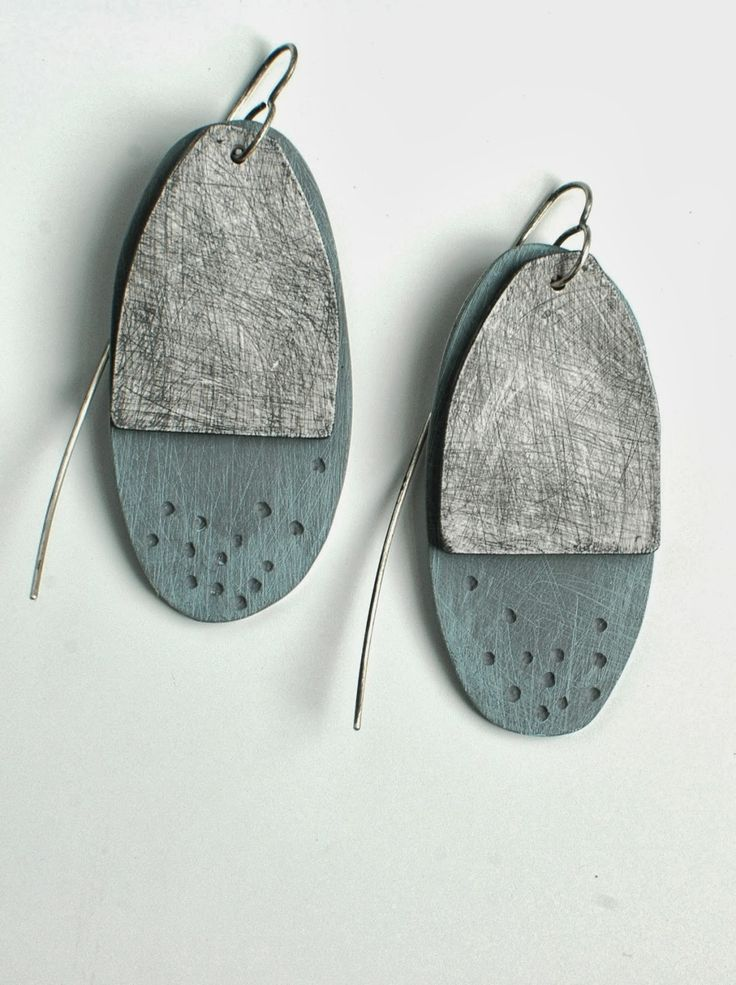 Layered Oval Earrings // Slate Grey