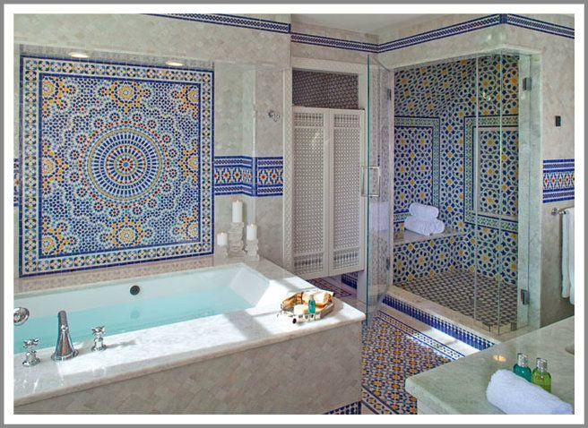Bagno In Stile Moderno Con Parquet E Luci Blu Interior Design : Bagni in stile marocchino spettacolari arredo idee