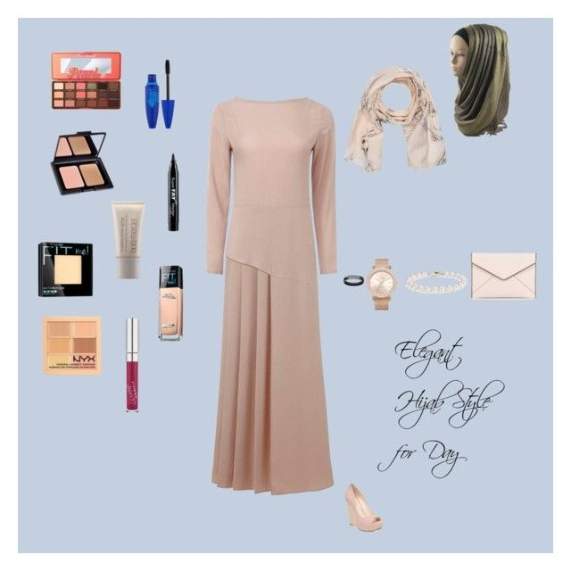 Elegant Hijab Style for Day by fabsmusician on Polyvore featuring Uniqlo, Jessica Simpson, Rebecca Minkoff, Kim Rogers, Blue Nile, Fraas, Too Faced Cosmetics, NYX, Maybelline and e.l.f.