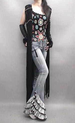Hip New Fashion, Jeans with Personality, Long Flare Denim Trousers Layers of Ruffles, Please Read Size Description, International Sizes Run Small