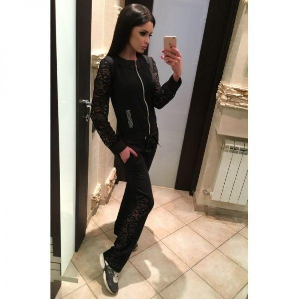 Спортивный костюм женский с кружевом Орландо черный