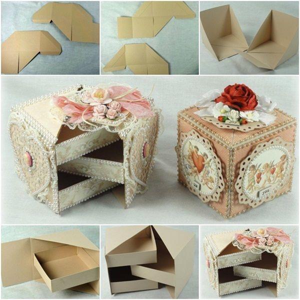 Perfect DIY Ideas: Beautiful Secret Jewelry Box Made from Cardboard -...