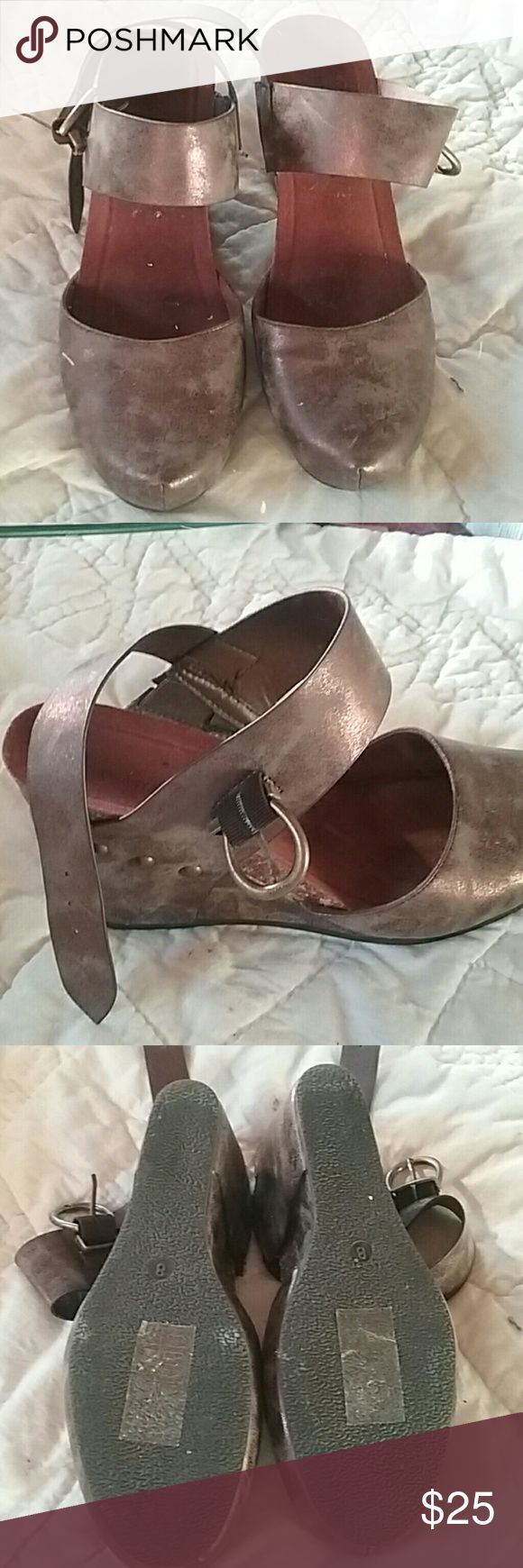 Pierre Dumas shoes Bronze colors wedges.  Only worn once.  Awesome condition!!! Pierre Dumas Shoes Wedges
