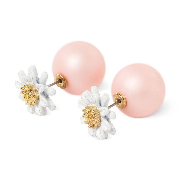 Large Matte Pink Pearls with White Daisies Reversible Front and Back Earrings | Claire's