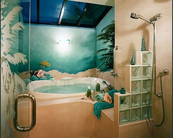 Unique Tropical Bathrooms Decorating Plans And Wall Decor : Unique Tropical Bathrooms Decor Seaworld Wall Accent Blue Ceramic Tiles Shower A...