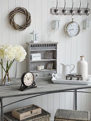 Grey hallway furniture and accessories for interior design