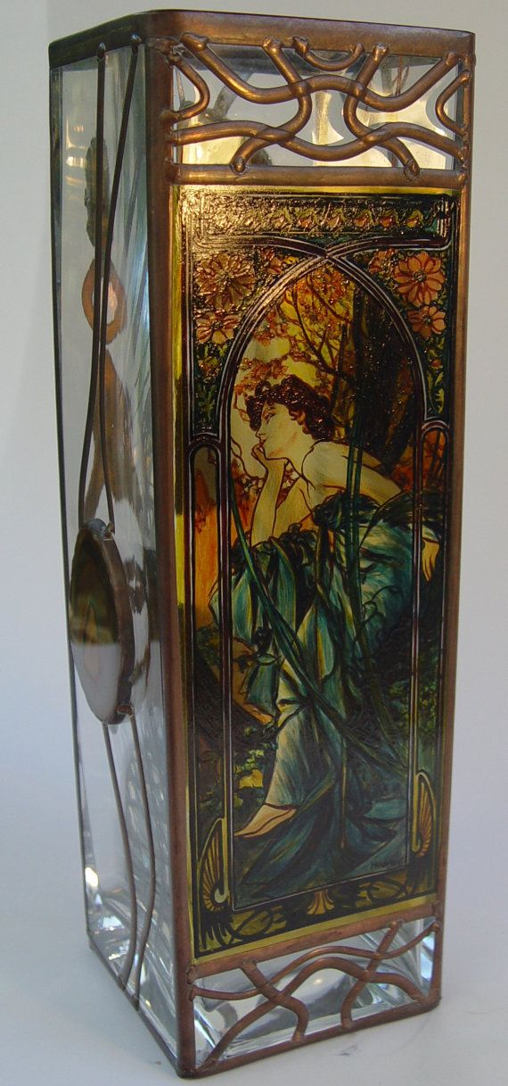 "13.5"" x 4"" (340 mm x 102 mm) Massive, glass, bright, hand-painted decorative vase, product of Czech glass factories. Precise copy of Mucha's artwork."