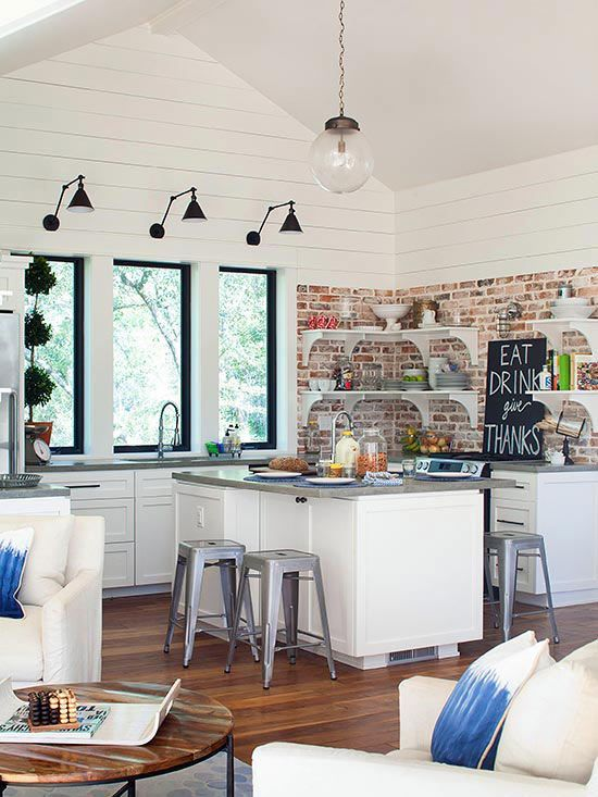 Mixing wood and brick gives any room a cozy feel. Get this look with our White Oak Woodgrain Panel and Carriage House Red Brick Panel. http://www.decpanels.com/consumer #remodel #kitchen