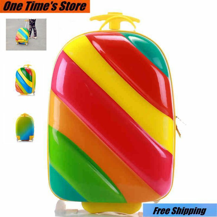 2014 Fashion child trolley luggage travel bag trolley primary school students rainbow bags colorful container free shipping on Aliexpress.co...