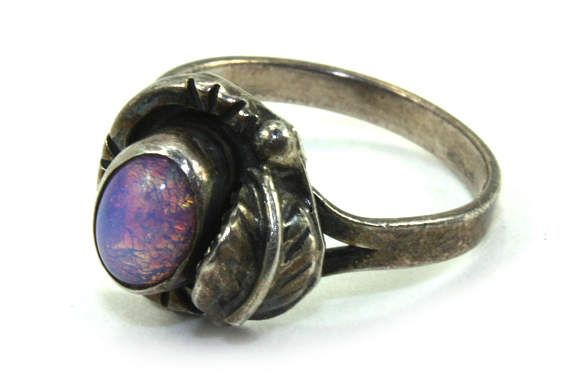 Vintage Opal Ring mexican opal ring Opal Silver Ring