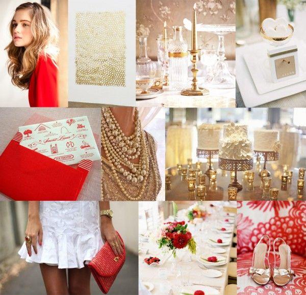 red & goldGold Modern, White Wedding, Modern Glam, Anne Design, Inspiration Boards, Colors Palettes, Wedding Colors, Red Gold, Red White And Gold Wedding