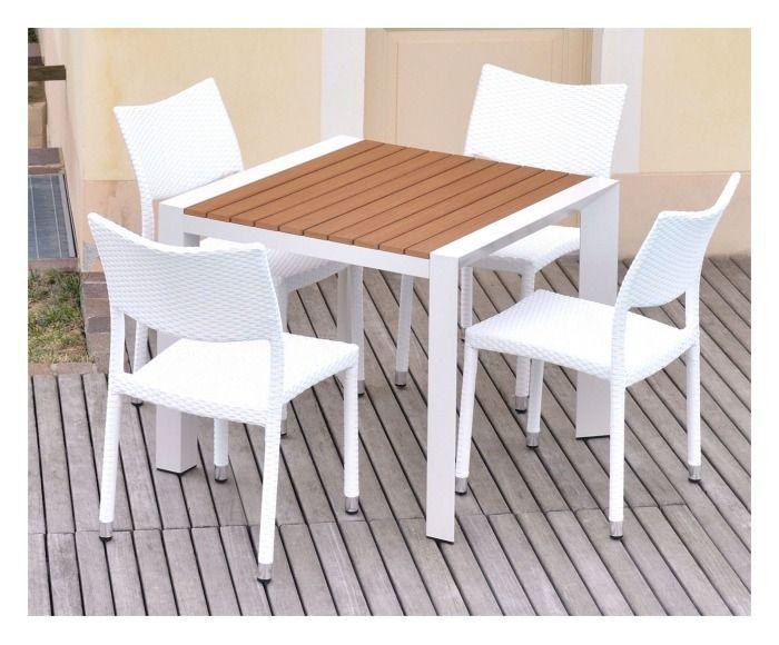 Tavolo quadrato Adila bianco/naturale 90x90