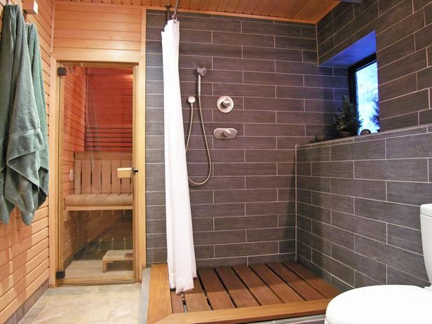 Contemporary Bathrooms from Katarina Andersson on HGTV.  Downstairs spa idea for shower/sauna combo.