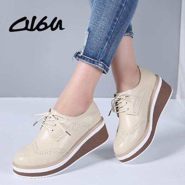O16u 2018 Zapatos De Plataforma Brogue Para Mujer Zapatos De Plataforma De Cuero Genuino Con Cordones Zapatos De Suel Lace Up Flats Oxford Shoes Thick Heels