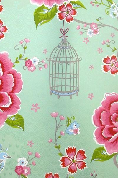 313013 birds in paradise groen eijffinger pip studio behang vogels bloemen vliesbehang