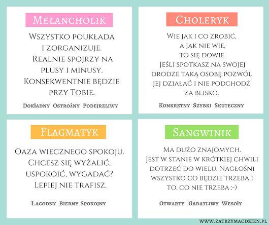 Na grafice przedstawione są 4 typy osobowości. Wiesz do której grupy się zaliczasz? Napisz w komentarzu jaki Twoim zdaniem jest Twój typ osobowości... www.zatrzymacdzien.pl