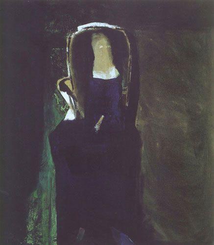 """Teresa Pągowska """"Dama w fotelu"""", 1997, tempera, akryl na płótnie, wymiary 160x140 cm,"""
