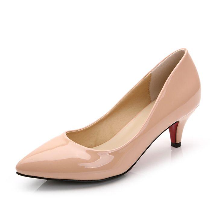 Сексуальная острым носом лакированная кожа красной подошвой на низком каблуке женской обуви 2016 бренда дизайнер обуви с красной подошвой высокие каблуки женщин туфли на высоком каблуке ню белый