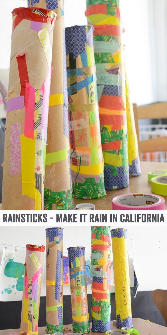 How to make washi tape rain sticks with kids