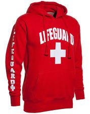 Lifeguard Adult Hoodie Sweatshirt Red Life Guard Brand New
