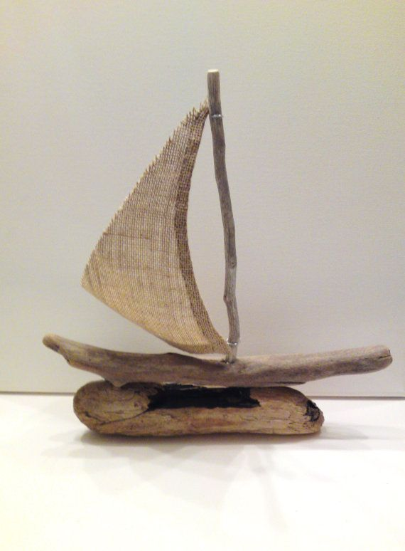 Chios Driftwood sailboat with burlap sail ready to by AMMOUDIA