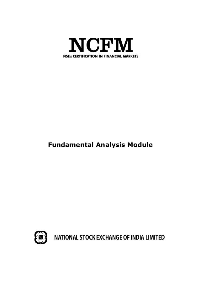 Fundamental Analysis Module NATIONAL STOCK EXCHANGE OF INDIA LIMITED
