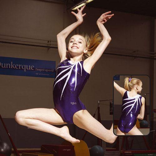 JUSTOGYM Justaucorps Sans manches de la marque agiva pour gymnastique, patinage, grs, gym rythmique, gym artistique