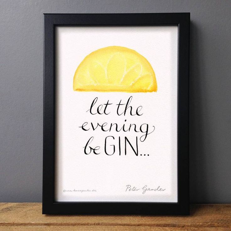 This humorous gin print is a cheeky play on words that's sure to tickle friends and family who love a little tipple!Sold unframed, but fits standard A4 size frames.Colourful and eye-catching, this hand-drawn design makes a great typographic gift for gin lovers. The print looks great in the kitchen or living room, and will be appreciated by anyone who decrees it 'Gin o'clock!' It has a celebratory feel, whether celebrating the weekend, the end of a long day, or a birthday.  Originally ...