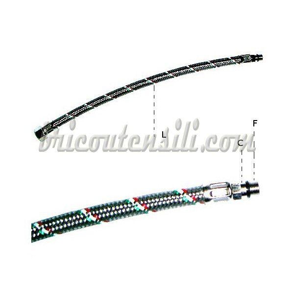 Utilizzati per il collegamento tra rubinetto miscelatore monocomando e impianto idrico. Trecciatura coprente la quasi totalità della superficie.