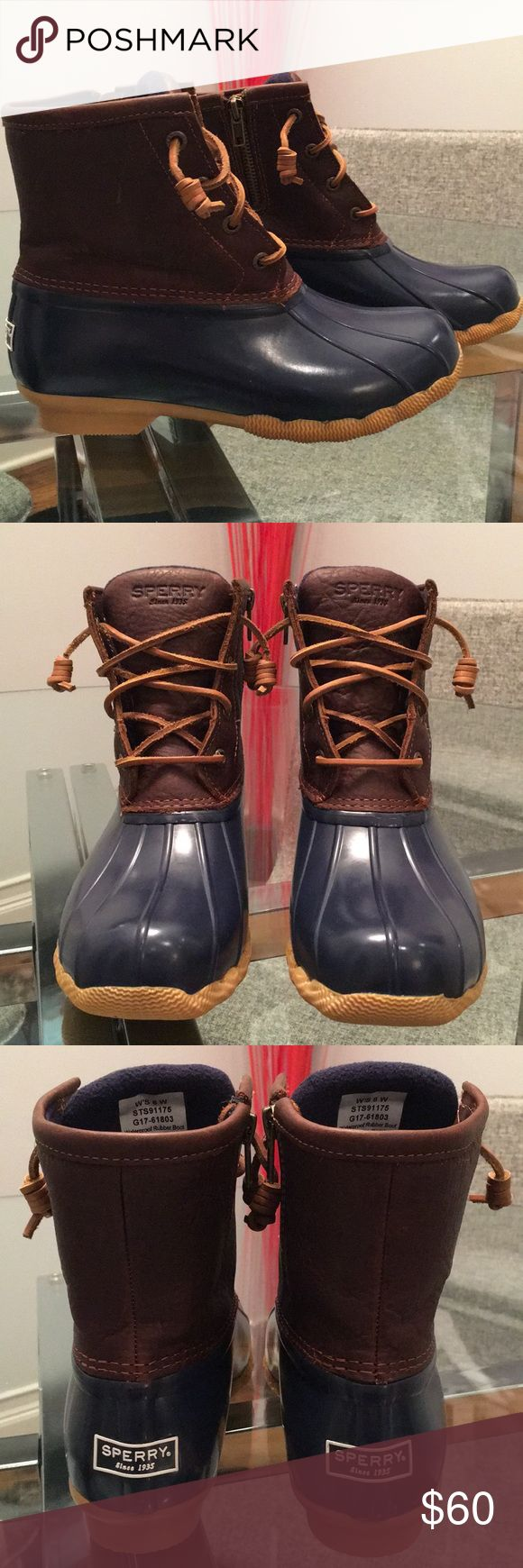 Women's Sperry Saltwater Duck Boot Women's Sperry Saltwater Duck Boot. Waterproof rubber duck toe. Side zipper for easy on and off. Barrel tie lacing keeps from laces getting untied. Microfleece lining. Non-marking rubber outsole.  New, never worn. Sperry Shoes Winter & Rain Boots