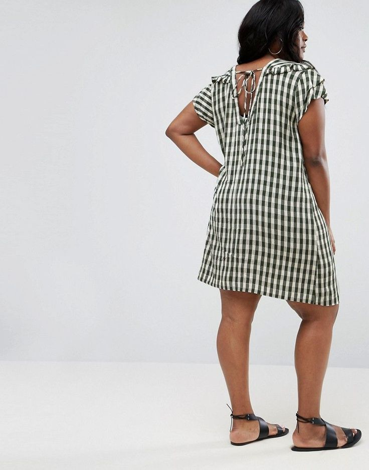 ASOS CURVE Gingham Frill Shift Dress - Green