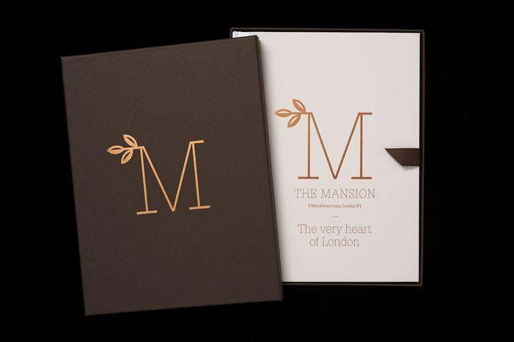 Copper foiled brochure by Pentagram for new property development The Mansion on Marylebone Lane