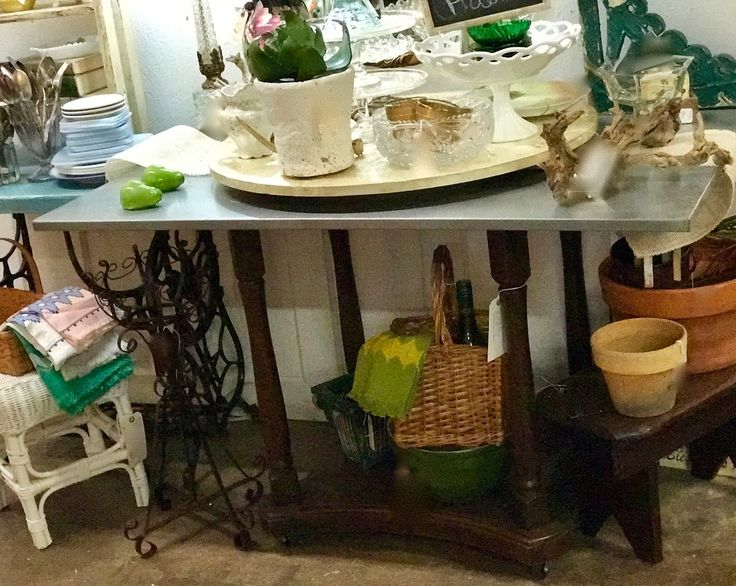"Oak Base Table With Galvanized Top On Sale   48"" Wide x 30"" Deep x 30"" High   Was $340 Sale Price $240  Vintage Affection Dealer #1680  White Elephant Antiques 1026 N. Riverfront Blvd. Dallas, TX 75207"