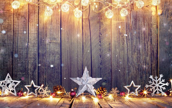 Download wallpapers 4k, christmas decorations, stars, Happy New Year, wooden background, christmas, xmas, Merry Christmas