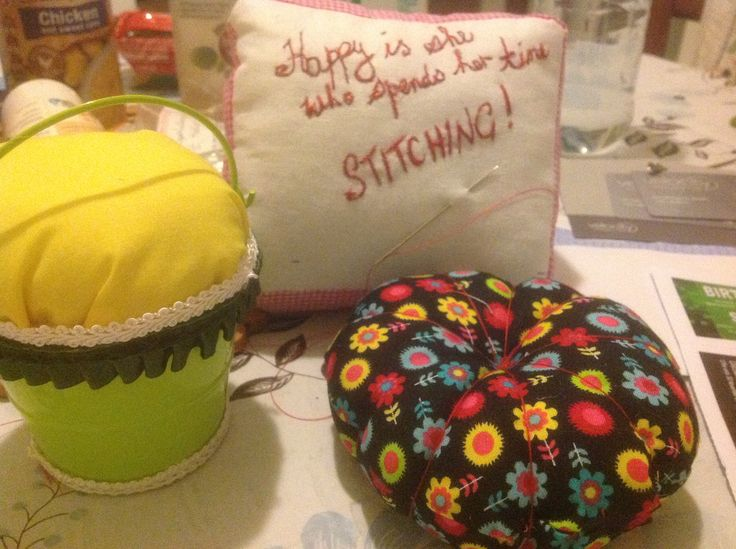 My attempt at some pin cushions....not too shabby!