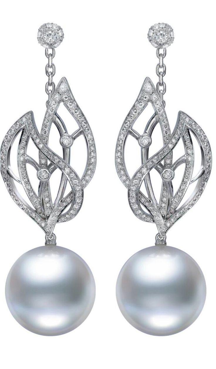 Mikimoto Pearl And Diamond Earrings