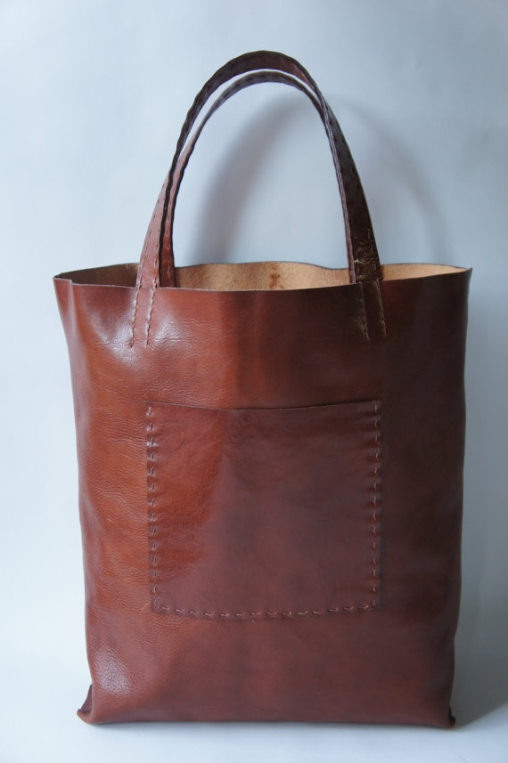 Large leather tote in Rum by Stitch and Tickle