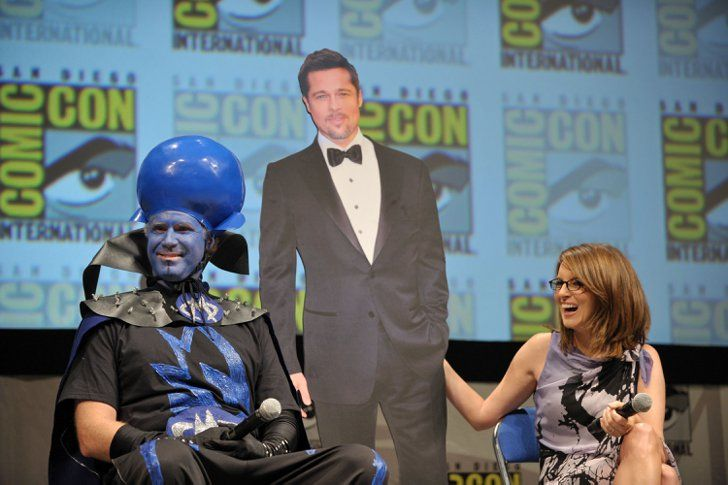 Pin for Later: The Cutest Cast Moments From Comic-Cons Past  To promote their movie Megamind in 2010, Will Ferrell and Tina Fey brought a cardboard cutout of their costar, Brad Pitt, onstage with them.