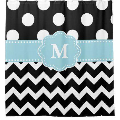 Black Blue Dot Chevron Monogram Shower Curtain - monogram gifts unique design style monogrammed diy cyo customize