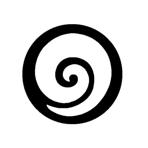 Koru - a symbol in Maori art mimicking the fiddlehead of new ferns.  It symbolizes new life, growth, development, and peace.  The circular shape of the koru helps to convey the idea of perpetual movement while the inner coil suggests a return to the point of origin.