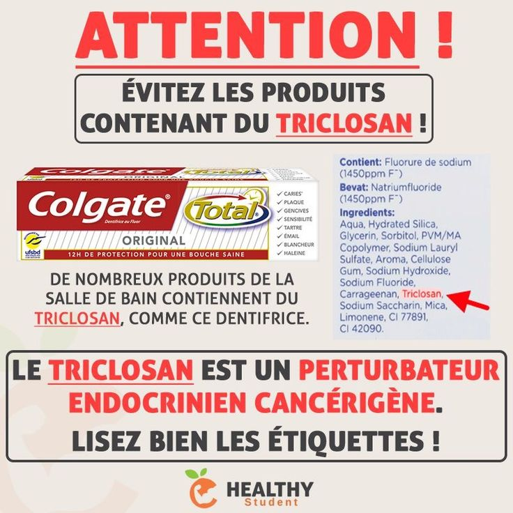 Le triclosan, un perturbateur endocrinien cancérigène, se trouve dans de nombreux produits de la salle de bain (dentifrice, shampoing, savon, déodorant, rouge à lèvre, etc...). Pour plus d'infos sur cette substance nocive : https://fr.wikipedia.org/wiki/Triclosan Il est indiqué clairement dans la composition des produits, alors lisez bien les étiquettes afin d'éviter d'acheter des produits en contenant !  | Healthy Student par Valentin Loiseau