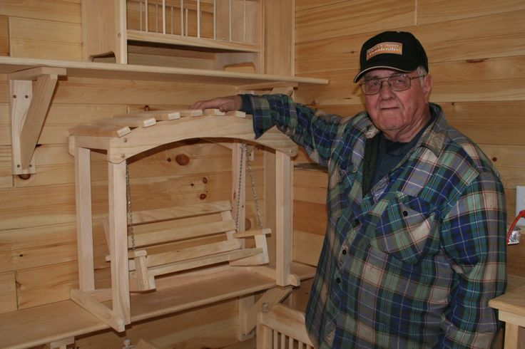 Glen builds all kinds of wood products with his Woodmasters. Here he displays doll furniture he builds to accompany the popular American Gir...
